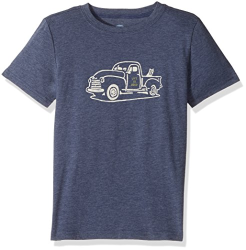 Life is good Boy's Cool Tee Rocket Truck, Darkest Blue, Large