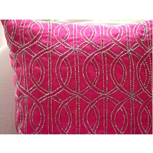 Handmade Fuchsia Pink Decorative Pillows Cover, Lattice Trellis Pillows Cover, 20″x20&#824 ...