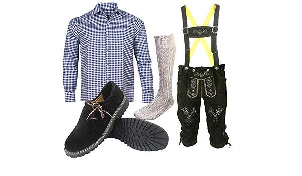 ALL THE GOOD S 12 Set (pantalones + camisa + zapatos + calcetines) Pantalones de cuero bávaros Oktoberfest