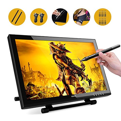 Ugee UG-1910B 19 Inches LCD Graphics Monitor Pen Display Drawing Monitor Dual Monitor with Adjustable Stand, 2 Chargeable Pens, 1 Drawing Glove, 1 Screen Protector