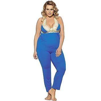 Myhope Mujeres lencería correa pijamas de dos piezas conjunto halter-back señuelo encaje más tamaño