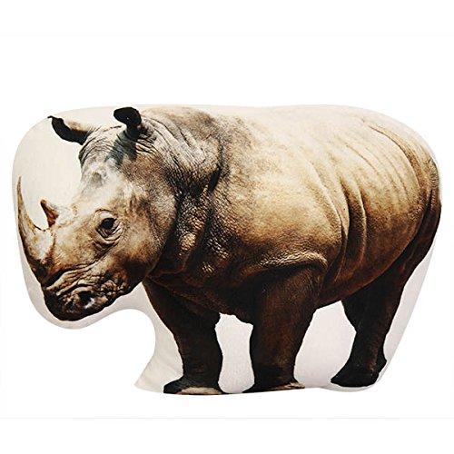Bluelover Leone Animale Sveglio 3D Creativo Pappagallo Forma Throw Cuscino di Peluche Morbido Divano Auto Ufficio Regalo – Rhinoceros Prezzi