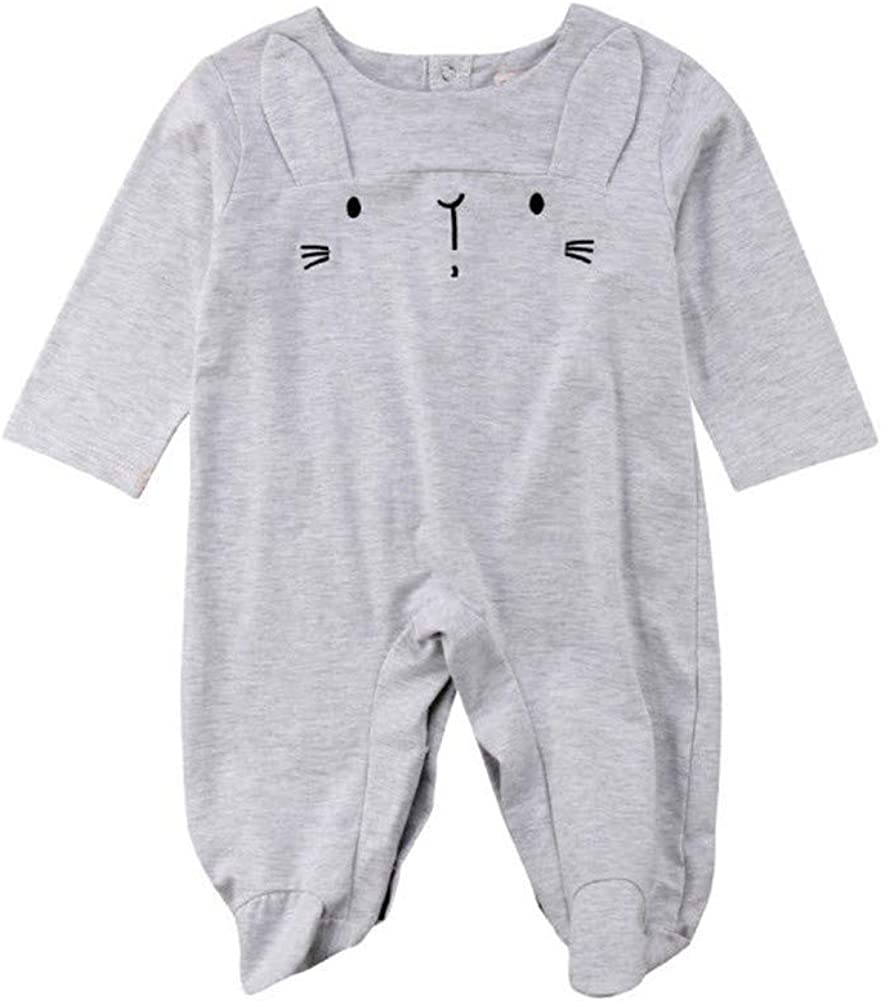Winagainer Infant Baby Boys Girls Long Sleeve Footed Romper Pajamas with Bunny Ear Outfits Clothes