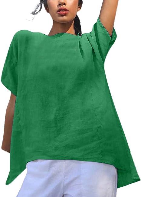 ღLILICATღ Para Mujer Moda De Manga Corta De Camisa Color SóLido Suelto Blusa con Cuello Redondo Blusa para Mujeres De Talla Grande Tops: Amazon.es: Deportes y aire libre