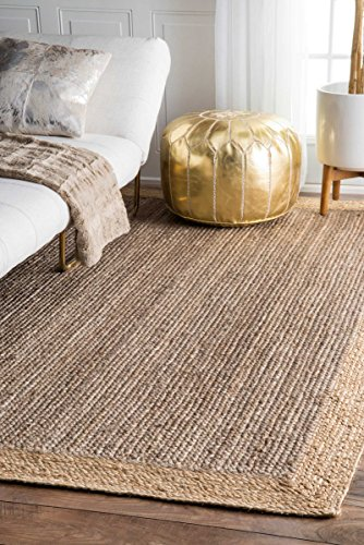 Handmade Natural Fibers Border Jute Grey Area Rugs, 8 Feet by 10 Feet (8′ x 10′)