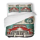 SanChic Duvet Cover Set Car Vintage Garage Retro Route 1950S Sign American Decorative Bedding Set with 2 Pillow Shams Full/Queen Size