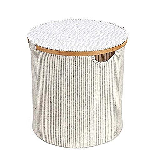GOHIDE A Folding Laundry Basket Storage Round Barrel Large Wood Laundry Storage Basket Toy Clothes Storage Basket 38 x 38 cm XCX by GOHIDE (Image #1)