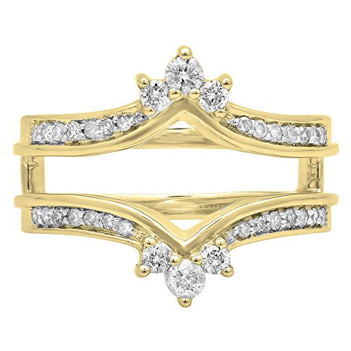 Dazzlingrock Collection 0.40 Carat (ctw) 14K Round White Diamond Wedding Band Enhancer Guard Double Ring, Yellow Gold, Size 8.5