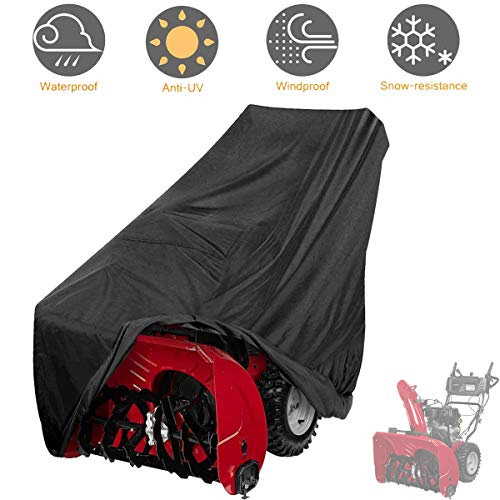 Tvird Snow Thrower Cover, 300D Two Stage Snow Blower Cover Waterproof, 60 L x 33 H x 45 W for Most Electric Snow Blowers, Universal Size Includes Locks Drawstring,Buckles,and Carry Bag