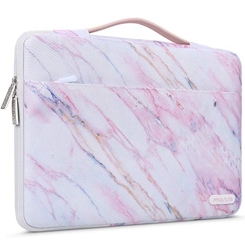 MOSISO Laptop Sleeve 360 Protective Case Bag Compatible with 13-13.3 inch MacBook Pro, MacBook Air, Notebook, Polyester Cross Grain Marble Shockproof Handbag with Trolley Belt