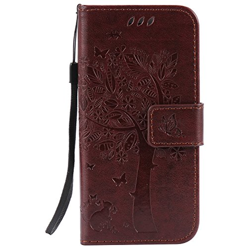 iPhone 8 Case,iPhone 7 Case,Wallet Case,PU Leather Case Floral Tree Cat Embossed Purse with Kickstand Flip Cover Card Holders Hand Strap for iPhone 7 / iPhone 8 [4.7 Inch] Brown