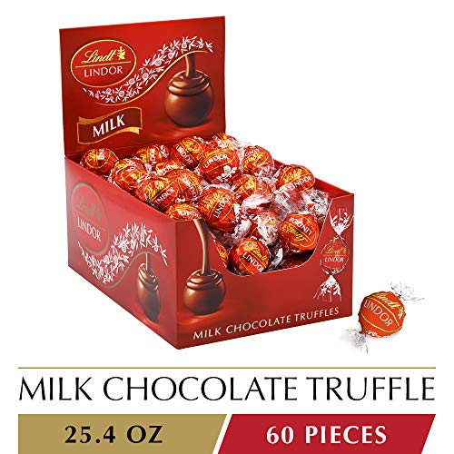 Lindt LINDOR Milk Chocolate Truffles, 25.4 oz, 60 Count]()