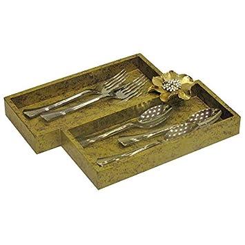 Oro Bandeja de cajón para cubiertos (madera con dorado metálico flores, casa cocina o