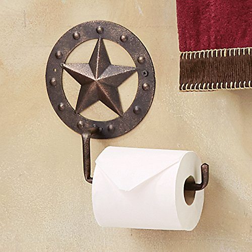 Western Bath Decor (Stars & Studs Metal Toilet Paper Western Holder - Western Bath Decor)