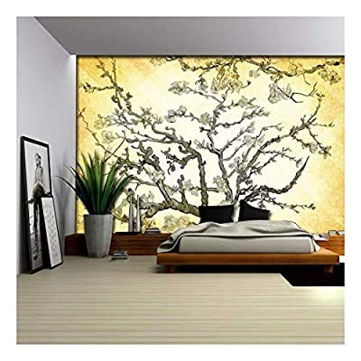 Copper Almond Blossom Painting by Vincent Van Gogh on a Golden Yellow Vignette Background - Wall Mural, Removable Sticker, Home Decor - 66x96 inches