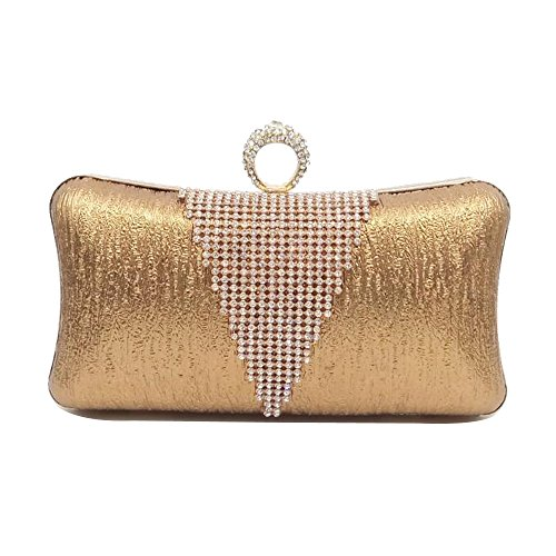 Shoulder Bridesmaid PU Skin Ballroom Parties Bridal Wallets Bag WENMW Bag Elegant Bride Wedding Rhinestone Lady Bag Clutch Messenger Brown Pattern F4WncfzWq