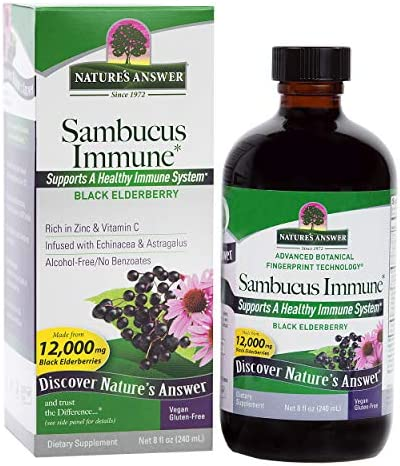 Nature s Answer Alcohol-Free Sambucus Immune Support, 8 Fluid Ounce – Made from 12,000 mg Black Elderberry, Infused with Echinacea and Astragalus Zinc and Vitamin C
