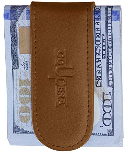 Magnetic Money Clip Wallets for Men - Genuine Leather Money Clips for Gift - Mens Money Clamp - Cash Holder (Classic Money Clip)