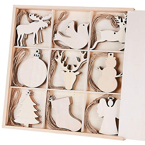 Snowman Angel Ornament (MACTING 45pcs Unfinished Wood Christmas Ornaments with Holes - Ball, Bird, Christmas Stocking, Snowman, Angel, Christmas Tree, Deer Head, Cow, Deer Cutouts Tag Xmas Tree Hanging Decorations ¡)