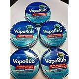 Vicks Vaporub Ointment Cream Cough Suppressant and Topical Analgesic of 0.45 Oz JAR - 5 Packs