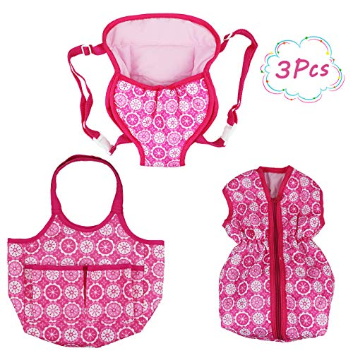 """- DC-BEAUTIFUL 3 Pack Baby Doll Accessories Set with Handbag and Front/Back Carrier Backpack and Sleeping Bag, Fits 14 to 18""""Dolls"""