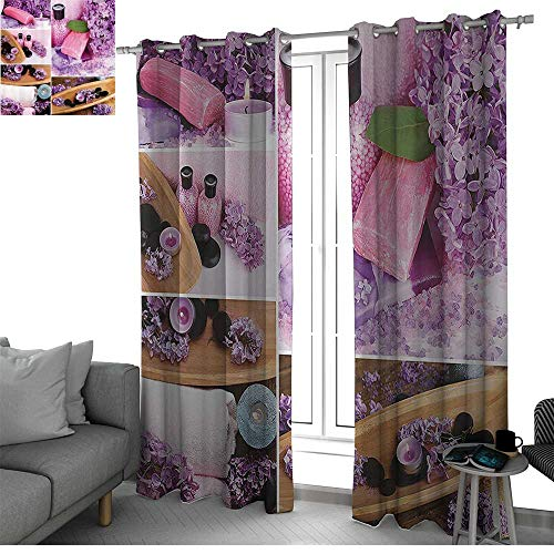 Home Decor Collection Kitchen/Bedroom Window Treatments Home Decoration Aromatic Spa with Lilac Petals Fresh Therapy Oils Bath Salt Soap Relax Theme Meditation Collage kitchen curtain Violet ()