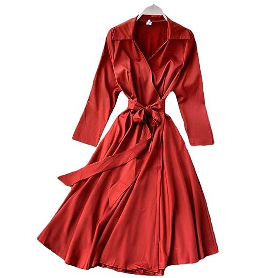 Wintco Damen Audrey Hepburn Retro V Vintage Ausschnitt Mantel Kleider Gürtel Mit Kleid Formal n0wkP8XO