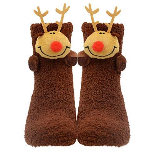 Women Girls 3D Cute Animals Slipper Sleeping Winter Crew Cozy Fuzzy Socks Value Pack (3D Deer)