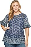 Lucky Brand Women's Plus Size Ruffle Peasant Top, Blue/Multi, 1X