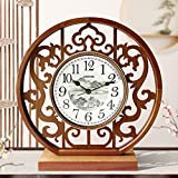 CXQ Chinese Style Solid Wood Clock Clock Living Room Simple Desktop Silent Quartz Clock Art Desk Clock (Color : Light Color)