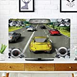 L-QN Protect Your TV Car Racing Video Game Inspired Need for Speed Road Competiti Motor Protect Your TV W35 x H55 INCH/TV 60''
