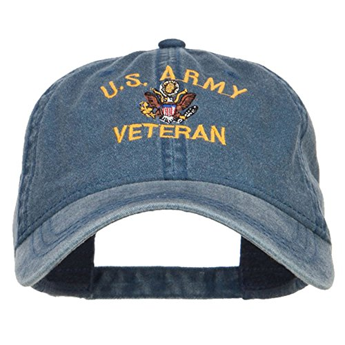 E4hats US Army Veteran Military Embroidered Washed Cap - Navy OSFM