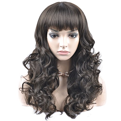 Dress Up Wig (RightOn 20'' Long Curly Synthetic Wigs Lovely Fancy Dress Up Wigs for Costume Party Hairnet Included (Dark Brown))