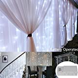 9.8 ft x 9.8 ft 300 LEDs White Backdrop Curtain Lights,9 Mode Battery Operated Super Bright Icicle Wall Lights for Indoor Outdoor Wedding Ceremony,Restaurant,Beverage Shop,Mall,Shop,Bridal Salon,BBQ
