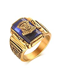 Stainless Steel Blue Rhinestone 1973 Walton Tigers Signet Ring for Men,18K Gold Plated Size 7-11