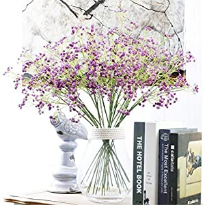 """Crt Gucy Artificial Flowers 9Pcs 23.6"""" Baby Breath/Gypsophila Fake Silk Plants Wedding Party Decoration Real Touch Flowers DIY Home Garden, Purple 15"""
