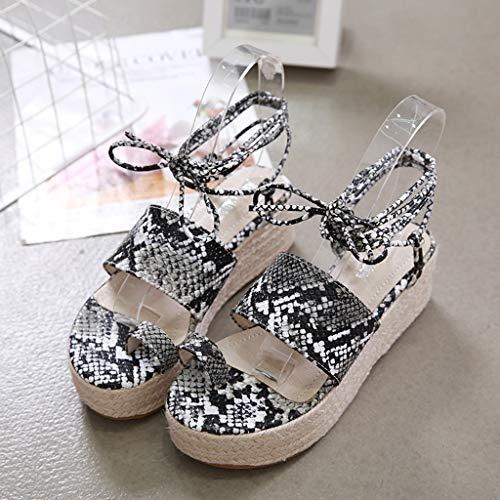 2019 Sharemen Casual Sandals Roman Shoes Straps Wedge Shoes Leopard Toe Thick Platform Women's Shoes(Black,US: 5) by Sharemen Shoes (Image #2)