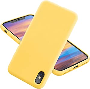 MCUCA iPhone X Case/iPhone Xs case Liquid Silicone Gel Rubber Bumper Case,Ultra-Thin Soft Microfiber Lined Full Body Protective Case Cover for Apple iPhone X/iPhone Xs (Yellow)