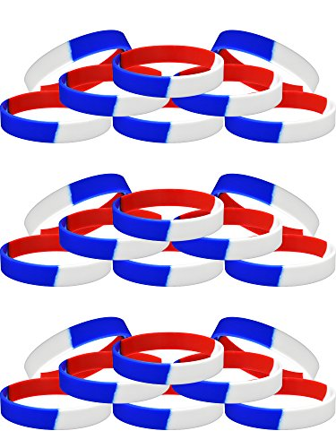 Maxdot 24 Pieces Patriotic Wristbands Silicone Bracelets Red White Blue Segmented Rubber Wristbands for Teen and Adults, 8 Inches -