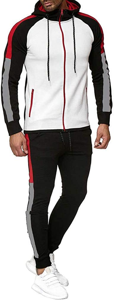 F/_Gotal Mens Casual Tracksuit Long Sleeve Running Jogging Athletic Sports Set Black Mens Outfits Winter