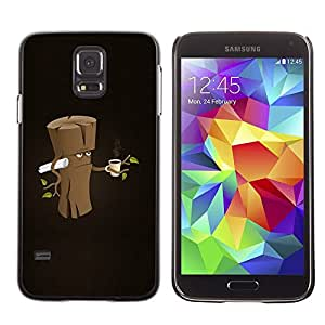 Design for Girls Plastic Cover Case FOR Samsung Galaxy S5 Funny Grumpy Morning Wood OBBA