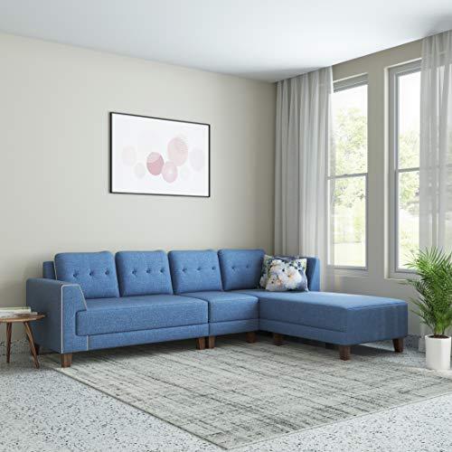 Amazon Brand – Solimo Venosa Fabric 6 Seater RHS L Shape Sofa (Blue)