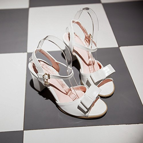 spessa donna con bocca Estate fiocco con da larga White tendenza nuovo di sandali dolce fibbia punta ZHZNVX aperta a pSBFqg4g