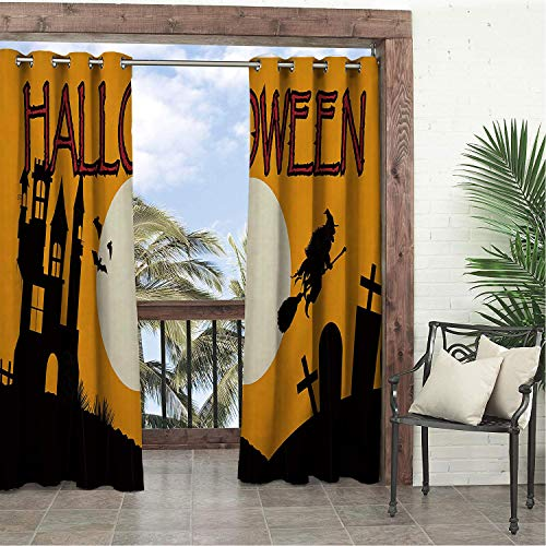 (Linhomedecor Garden Waterproof Curtains Halloween Witch Castle Tombstone 9 doorways Grommets Parties Curtains 120 by 84)