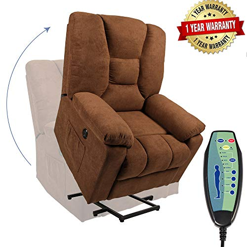 PieDle Electric Power Lift Recliner Chair, Linen Recliners for Elderly, Home Sofa Chairs with Heat & Massage, Remote Control, 3 Positions, 2 Side Pockets and USB Ports, Chocolate