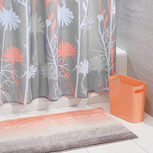 mDesign 3 Piece Decorative Bathroom Decor Set - Floral Polyester Fabric Shower Curtain, Ombre Microfiber Non-Slip Bathroom Accent Rug, Plastic Wastebasket Trash Can - Coral/Gray/White (Gray Shower Curtain Coral And)
