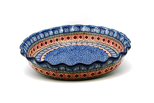 Polish Pottery Baker - Pie/Quiche - Fluted - Aztec Sun