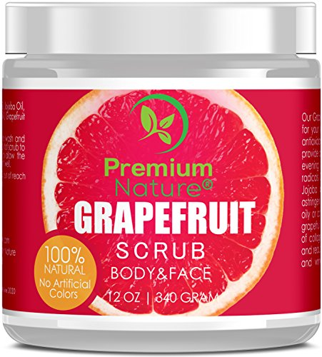 Exfoliating Grapefruit Face & Body Scrub - 12 Oz 100% Natural Cleanser Best Exfoliator - Strech Mark and Cellulite Removal with Sea Salt and Essential Oils - Exfoliates Moisturizes Premium (Natural Exfoliator)