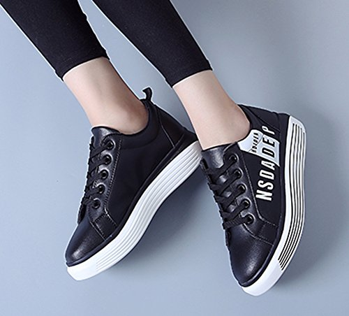 Aisun Women's Casual Comfy Round Toe Thick Sole Platform Running Lace Up Flats Sneakers Shoes Black ash1ywOCCA