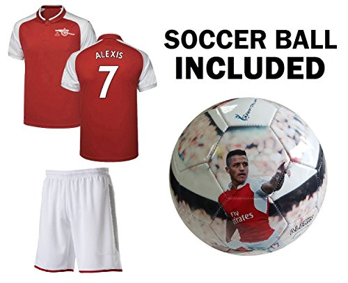Soccer Uniform Kits - ALEXIS #7 Jersey + Soccer Ball Youth sizes - Red Kids Soccer Jersey + Shorts + Premium Alexis #7 Football Size 5 ball - GREAT GIFT for Boys (YM 8-10 years, Jersey & Ball)